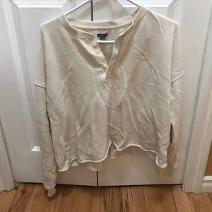 AERIE raw hem cropped cream sweater